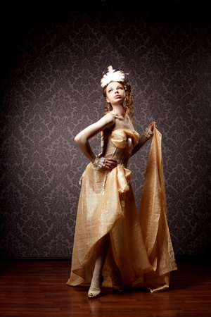 The image of a woman in a luxurious vintage style photo