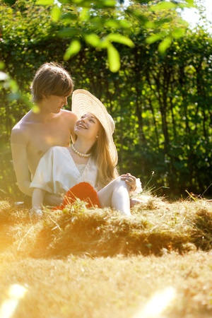 cute young farm girl: The image of a loving couple