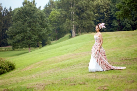 A woman like a princess in an vintage dress in nature photo