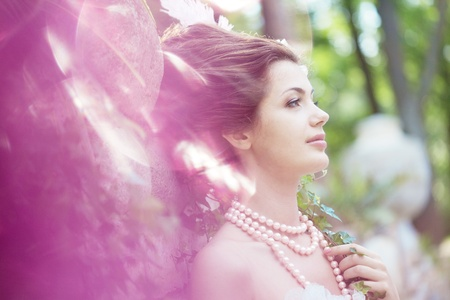 A woman like a princess in an vintage dress in nature Stock Photo - 11527631