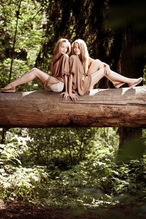 Two beautiful twins in the forest photo