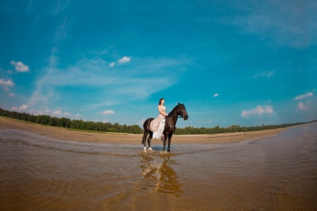 sexual activities: Image of a woman on a horse by the sea