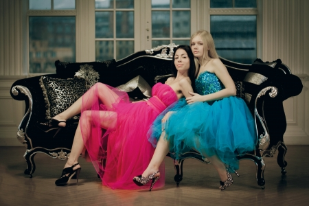 Two luxury fashion woman in vintage interior photo