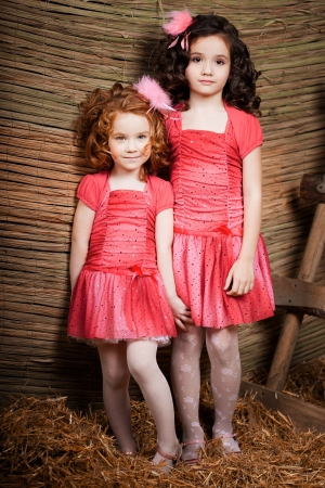 The image of two little girls, cute kids photo