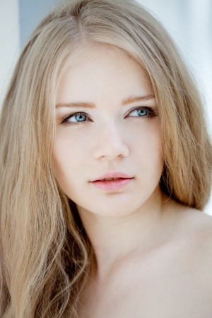 Glamour portrait of young beautiful woman Stock Photo