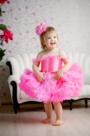 baby nursery: Cute girl, a child in a pink dress