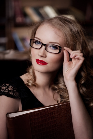 Stylish woman in the luxury in glasses Stock Photo