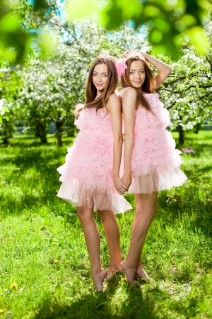 Twin girls in pink doll style Stock Photo