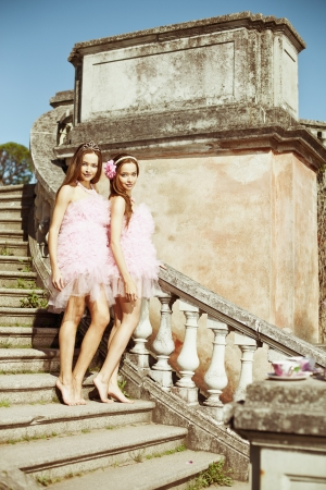 adult sisters: Beautiful twins in the background of the citys architecture Stock Photo