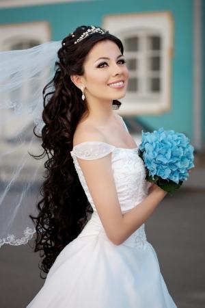 beautiful long hair: Beautiful happy girl with long hair outdoor