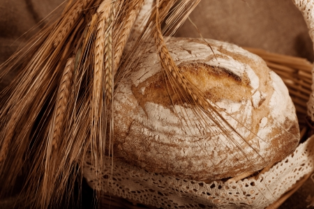 Close-up on traditional bread with ears.  photo