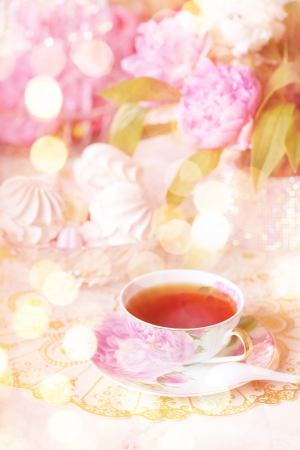pink cake: Tea in the Shabby Chic style Stock Photo