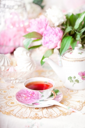 tea party: Tea in the Shabby Chic style Stock Photo