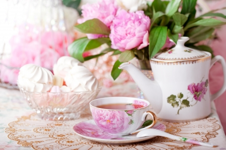 high tea: Tea in the Shabby Chic style Stock Photo