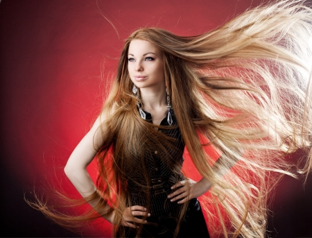 Woman with long luxury hair photo