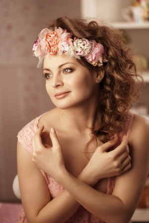Luxury vintage woman with flowers photo