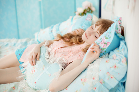teen bedroom: Cute young girl sleeping