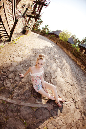 Beautiful stylish woman in the village photo