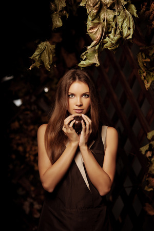 mystical forest: Luxury beauty young woman in a mystical forest  Stock Photo