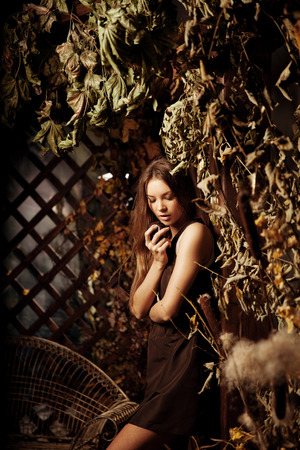 wood nymph: Luxury beautiful young woman in a mystical forest Stock Photo