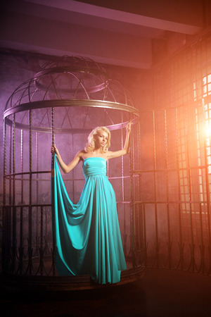 Beautiful woman like a princess in the palace. Luxurious rich fashion stylish girl in a long evening dress in cage photo