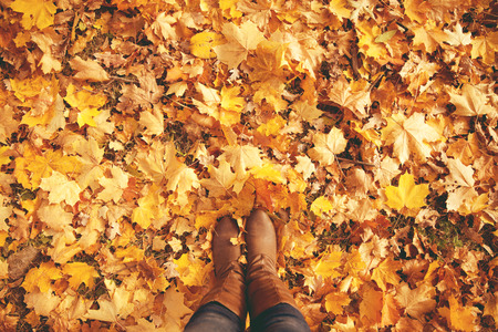 Conceptual image of legs in boots on the autumn leaves. Feet shoes walking in nature Standard-Bild