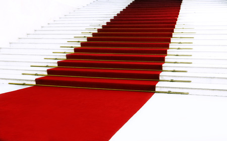 Red carpet on staircase photo