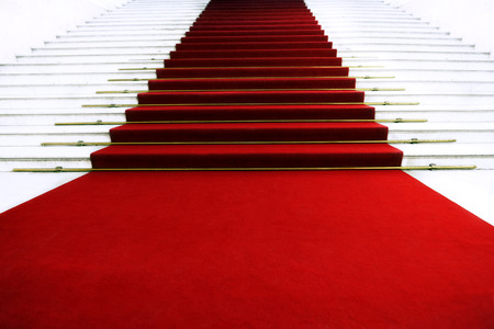 gala: Red carpet on staircase