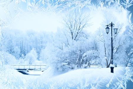 diciembre: Fondo del invierno, paisaje. Árboles del invierno en país de las maravillas. Escena de invierno. Navidad, Año Nuevo fondo Foto de archivo