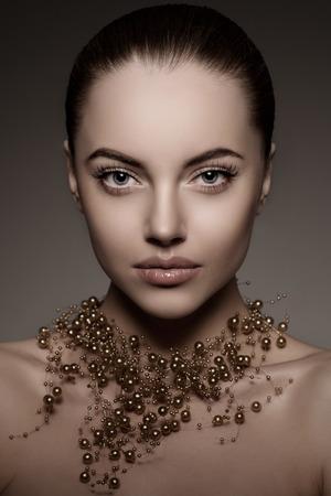 labios sexy: Chica modelo de alta moda. Foto de archivo