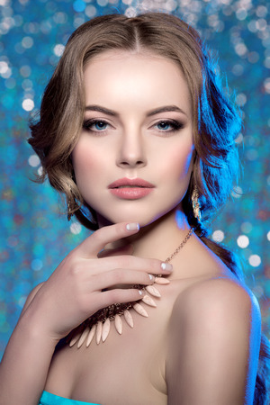 queens: Winter woman model gorgeous beauty makeup stylish hairstyle.