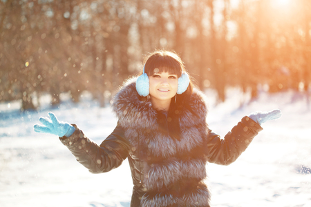 woman sunset: Winter woman on background of winter landscape sun.  Stock Photo