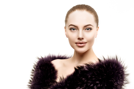 sexy young woman: Woman in a fur coat.  Stock Photo