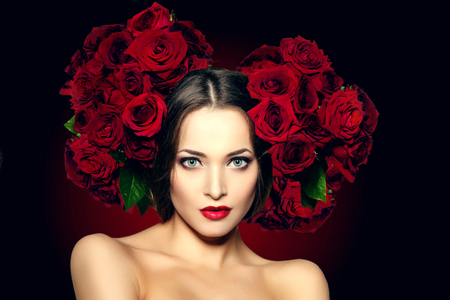 beautiful flowers: Beautiful model woman rose flower in hair beauty salon makeup Young modern girl in luxurious spa Lady make up Mascara for long lashes lipstick on lips eye shadow shiny hair  Products Treatment