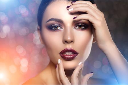 hair model: Beautiful model woman in beauty salon makeup