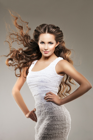 shy woman: Woman with healthy hair with luxurious haircut. Stock Photo