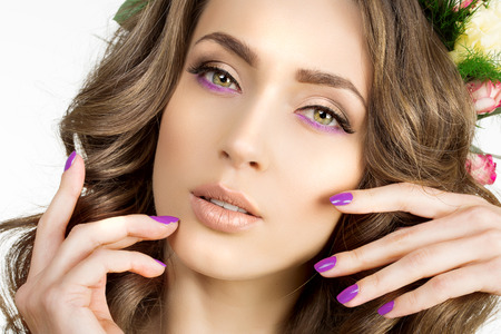 green eyes: Spring woman Young  Girl flowers Beautiful model wreath bracelet Bride bridesmaid makeup spa Lady make up Mascara lashes lipstick lips eye shadow shiny hair manicure nail polish Products Treatment