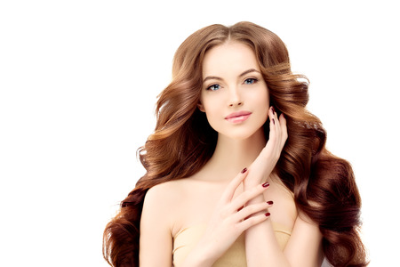 hair treatment: Woman Model with long wavy hair.