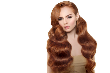 hair treatment: Woman Model with long red hair. Stock Photo
