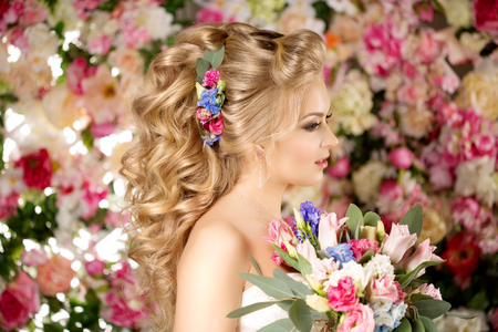 Woman with Flowers on her hair.