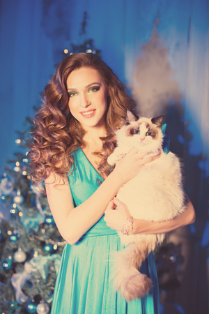 Christmans party, winter holidays woman with cat. New year girl. christmas tree in interior background. Stock Photo