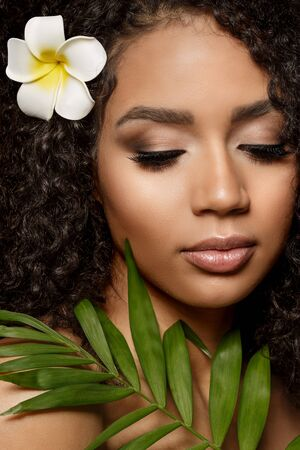 Beauty black skin woman fashion african ethnic female face portrait. Young girl model with afro and tropical leaves in hands Banco de Imagens