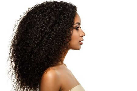 Beauty black skin woman African Ethnic female face. Young african american model with long afro hair. Lux model in profile Banco de Imagens