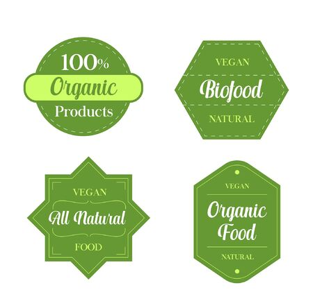 Organic vegan food labels - Organic vegan food labels Ilustracja
