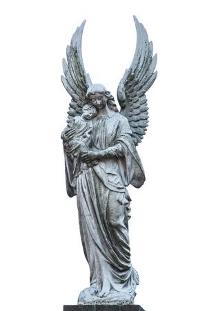 Grigio bianca statua di Maria con la statua di Cristo bambino isolato su uno sfondo bianco