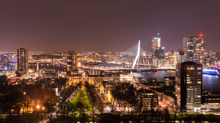 Skyline of the city of Rotterdam, Europe, seen from above by night Stock Photo