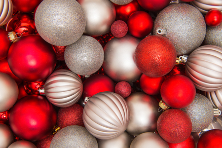 silver frame: Full frame silver and red christmas decoration glass ornament balls