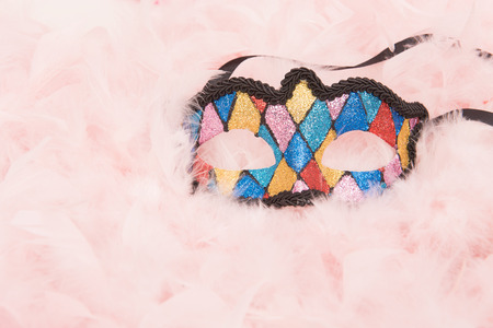 Colorful venetian carnival mask lying on a pink feathers boa Stock Photo
