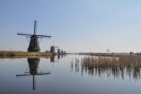 watermanagement: Duth windmills with reflection in the water with blue sky and reed beds