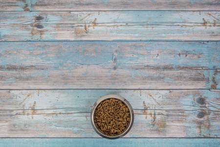 catfood: Bowl with cat kibble seen from above on blue scaffolding plank floor Stock Photo